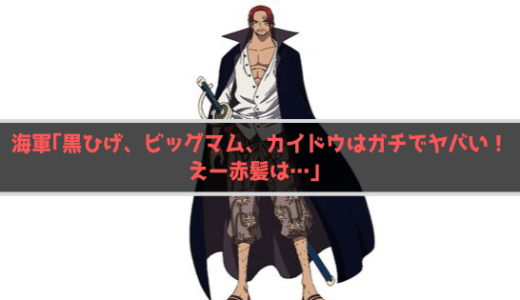 【ワンピース】海軍「黒ひげ、ビッグマム、カイドウはガチでヤバい!えー赤髪は…」